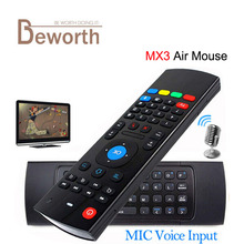 2.4G MX3 Mini Wireless Keyboard with Microphone Voice 3 in 1 Fly Air Mouse QWERTY Remote IR Learning for Android TV Box VS X8 T3(China)