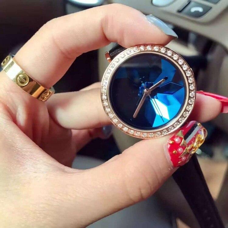 Female Watch Diamond unique glass chassis Diamond edge Ladies Watch fashion luxury quartz-watch Leather Strap Watches Women<br><br>Aliexpress