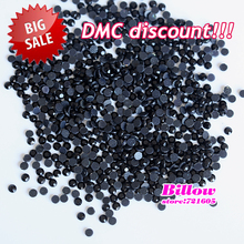 Promotion Discount!!! SS10 Jet Black DMC HotFix FlatBack Glass Hot Fix Rhinestones For Clothing Decoration and Beauty B3313(China)