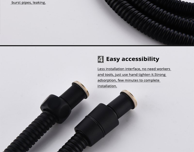 DCAN Plumbing Hoses Stainless Steel Black Shower Hose 1.5m Plumbing Hose Bath Products Bathroom Accessories Shower TubingHoses (12)