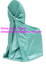 50pcs #95 Tiffany Blue Satin Back Self Tie Chair Cover,Universal Satin Chair Cover for Wedding Events &Banquet &Party Decoration