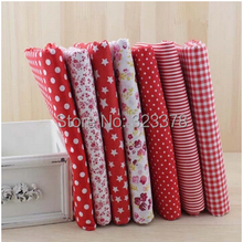 Red 7Assorted 50*50CM Plain Charm Printed Cotton Quilt Fabric Fat Quarter Tissue Bundle Set Diy cloth sewing kids Bag Decoration(China)