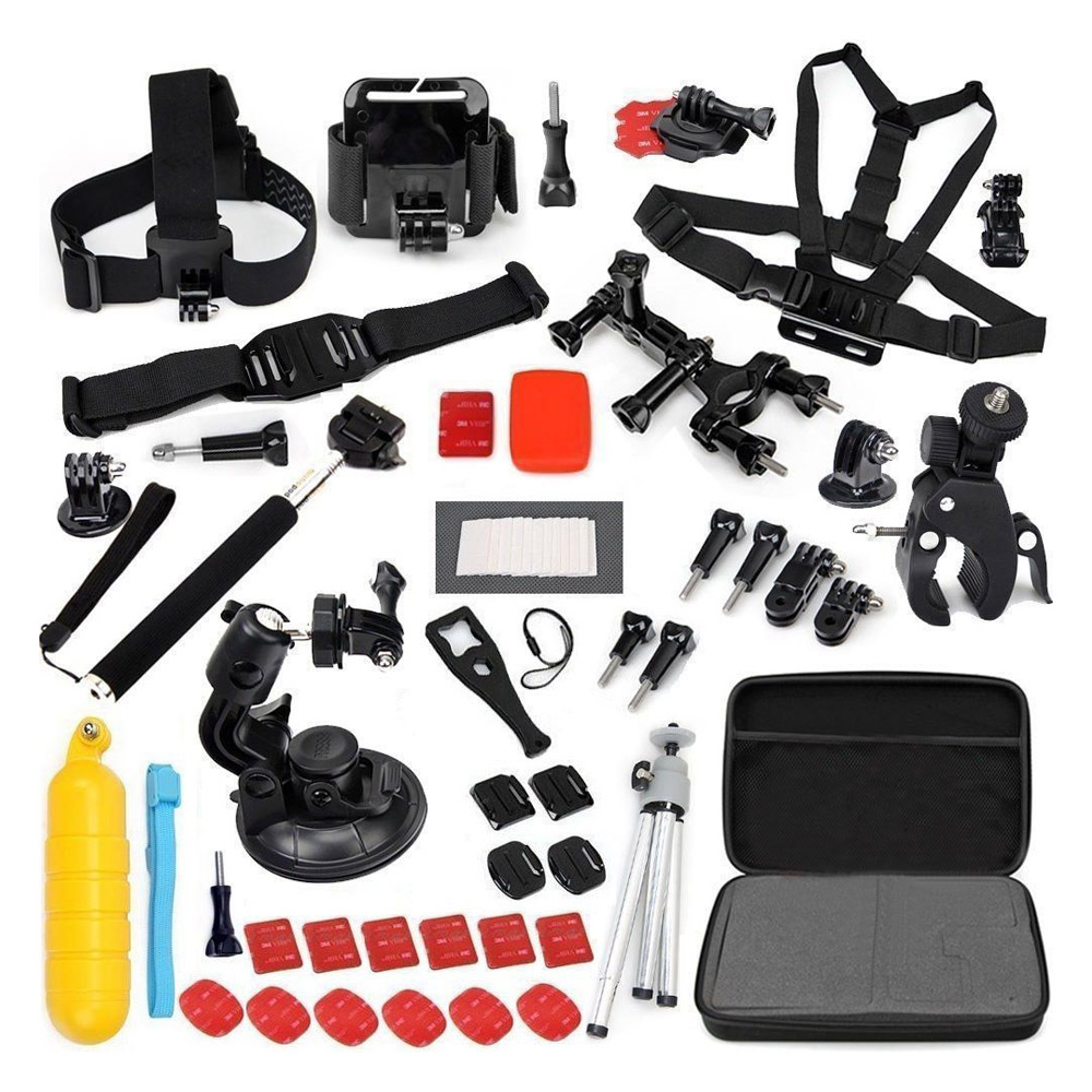 Accessories Set Kit 60 in 1 for Gopro Hero 4 3+ 3 2 Bag Monopod Head Chest Strap