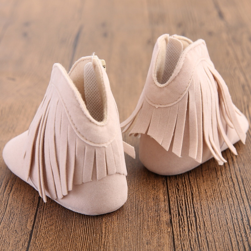 Fashion Baby Girls Casual Boots Infant First Walkers Cute Fringe Synthetic Leather Princess Shoes Crib Shoes for Baby Zipper