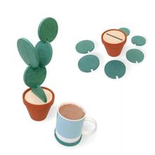 Creative cork insulation cute novelty cactus cup mat pad set home table decoration accessories Christmas gift coasters L40(China)