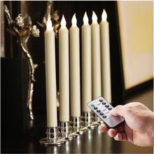 6pcs Window Candles With Remote Timers Battery Operated Flickering Flameless Led Electric Candle Lights With Removable Christmas(China)