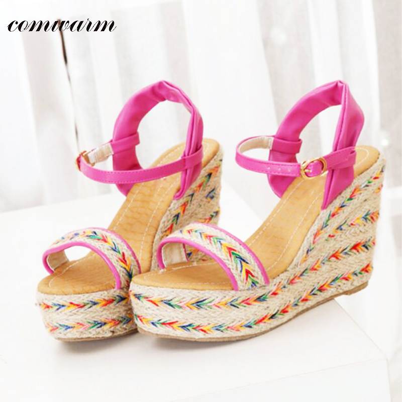 Comwarm Summer Fashion Bohemia Candy Color Women High Heels Sandals Colorful Upper Handmade Beach Casual Platform Wedges Shoes<br><br>Aliexpress