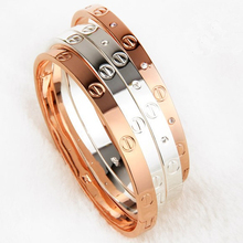 2017 Trendy Rose Gold Silver Bracelet for Women Bangle Lover Bracelet Jewelry Titanium Bangle Pulseiras