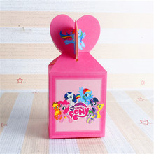 6pcs/lot Candy Cake Box for Kids My Little Pony Theme Birthday Party Baby Shower Party Decoration Party Favor Supplies