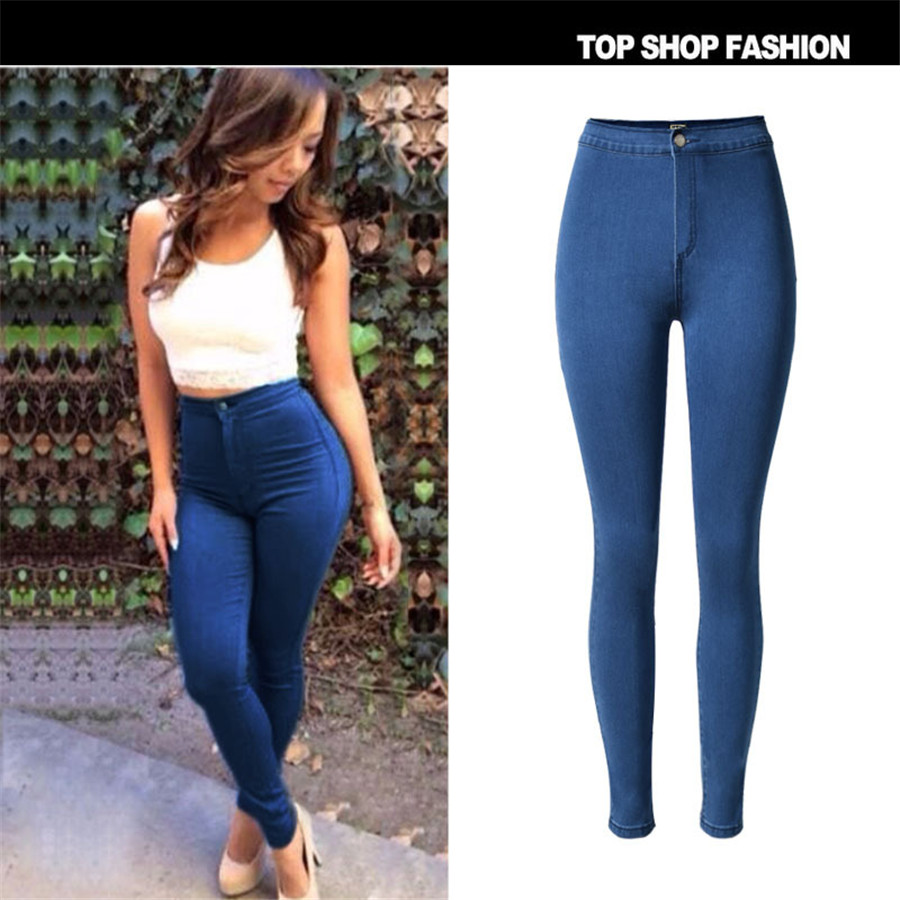 Hot Sale Fashion Women Pencil Pants High Waist Jeans Sexy Slim Elastic Jeans Skinny Pants Trousers Fit Lady jeans Women JeansОдежда и ак�е��уары<br><br><br>Aliexpress