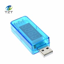 TZT teng Digital USB Mobile Power charging current voltage Tester Meter Mini USB charger doctor voltmeter ammeter Straight blue