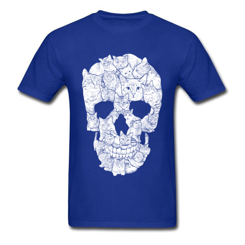 Sketchy Cat Skull Wholesale Short Sleeve Camisa T Shirt 100% Coon O-Neck Men T Shirt Casual Tee-Shirt Summer Autumn Sketchy Cat Skull blue