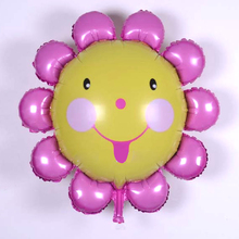 24pcs/lot 60*60cm Foil Balloons Sunflower Smile Face yellow Foil balloon Wedding Brithday Party Decor ball festive party supply(China)