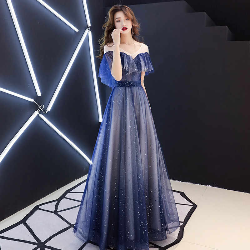 Evening Dress Sexy Navy Blue Formal