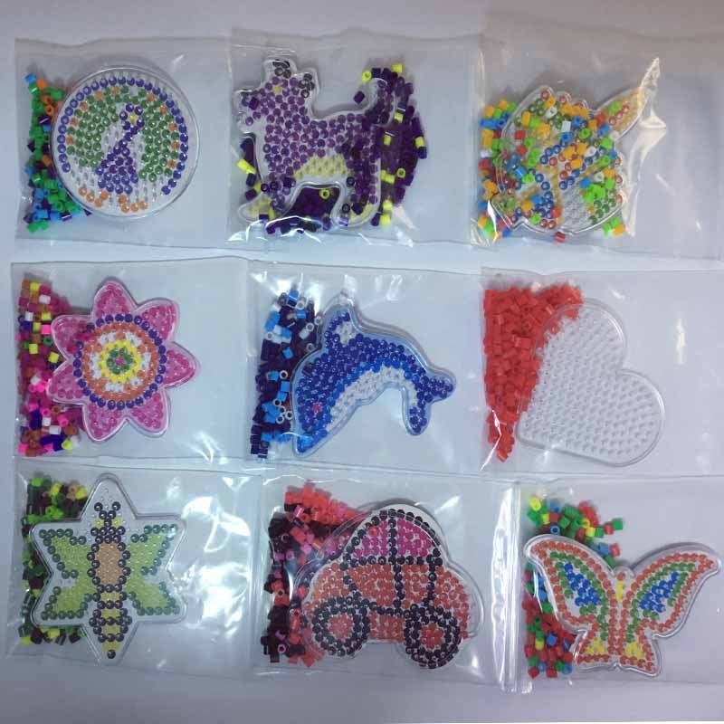 10pc Puzzle Pegboards Patterns with colored paper For 5mm Hama Perler Beads DIY