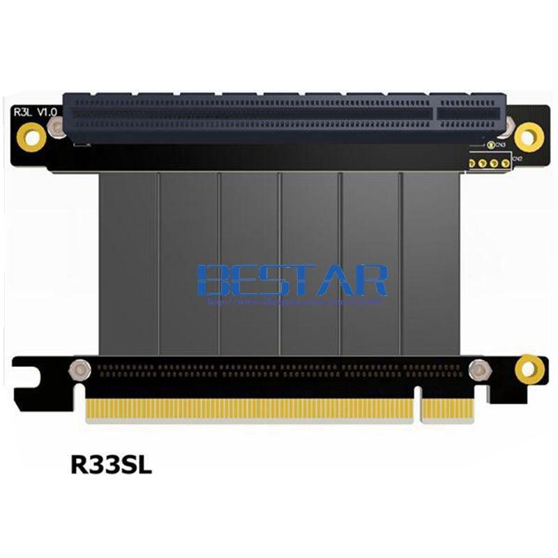 Riser x16 PCI-E 16 To 16 Riser card extension Cable Elbow Gen3.0 5cm 60cm 80cm 1m 100cm 3.0 pcie 16x to 16x Extender Left Angle<br>
