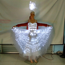 2 Sets Led Luminous Sexy Evening Party Dress Costume Light Up Stage Performance Clothes Wedding Dress For Club Bar Halloween