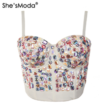She'sModa Color Rhinestone Bead Pearls Bustier Push Up Wedding Bralette Women's Bra Cropped Top Vest Plus Size