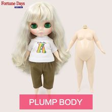 Fortune Days doll with Golden mix purple hair Cute Fat Lady with a set clothes 8800