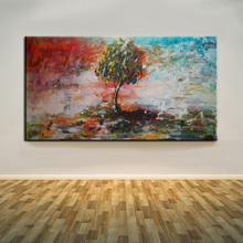 Old Skilled Painter Handmade Beautiful Landscape Abstract Blue And Red Tree Oil Painting On Canvas For Living Room Decoration