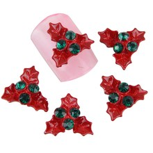 10Pcs/Lot Red Leaf Christmas Pattern Nail Charm Stud Glitter Rhinestones 3D Alloy Nail Decal Women Cheap Nail Gel Retail MA0447