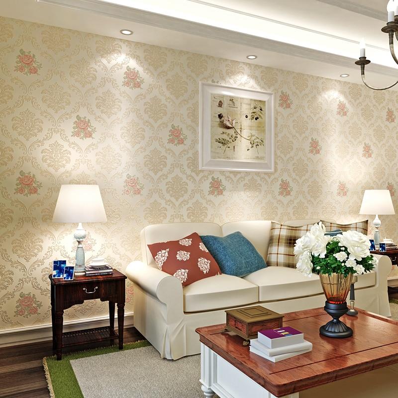 beibehang wallpaper garden flowers Damascus flocking gold foil wallpaper living room background wallpaper papel de parede <br>