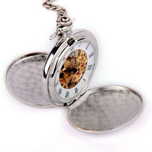SHUHANG BRAND Skeleton Pocket Watch Mechanical Movement Hand Wind Full Hunter Silver Tone Engravable