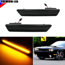 (2) Smoked Lens Front Side Marker Lamps with 24-SMD Amber LED Lights For 2008-2014 Dodge Challenger(China)