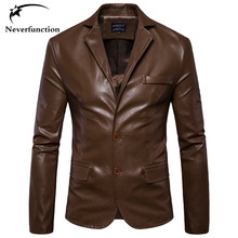 Autumn New Men Faux Leather Fashion Casual Dress Blazers Jacket Slim Men's high quality Motorcycle Wedding Party Suit Jacket(China)