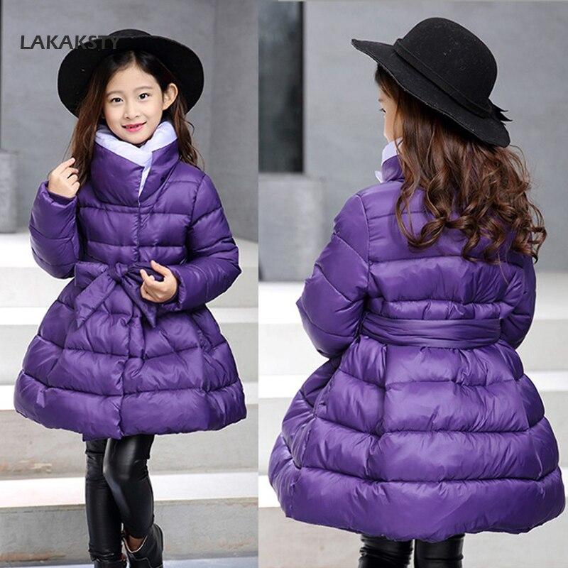 LAKAKSTY Kids Girls Winter Coat Fashion Waistband Outerwear Parka Thick Warm Down Jackets For Children Girl Clothing Princess <br>