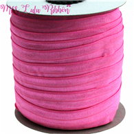 "5/8""16mm solid color matt fold over elastic ribbon hot pink foe hair tie headwear sewing elastic band decoration crafts 50yards(China)"