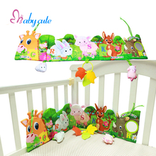 Baby Funny Mobile Cloth Book Educational Toys Animal Crib Bed Around Soft Brinquedo Teether Vibrator Toys For Baby 0-12 Month(China)