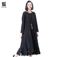 Outline Black Wool Dress for Women Spring Autumn Plus Size Patchwork Dresses in Casual Original Loose Tassel Dresses L164Y002