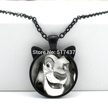 HZShinling New Lion King Pendant Lion Necklace Cute King Face Animal Jewelry Glass Cabochon Necklace Pendant HZ2-00677(China)