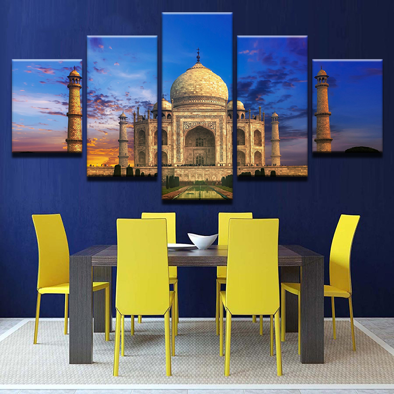 Canvas-Wall-Art-Picture-5-Panel-Taj-Mahal-Sky-Landscape-Pictures-For-Living-Room-Bedroom-Prints