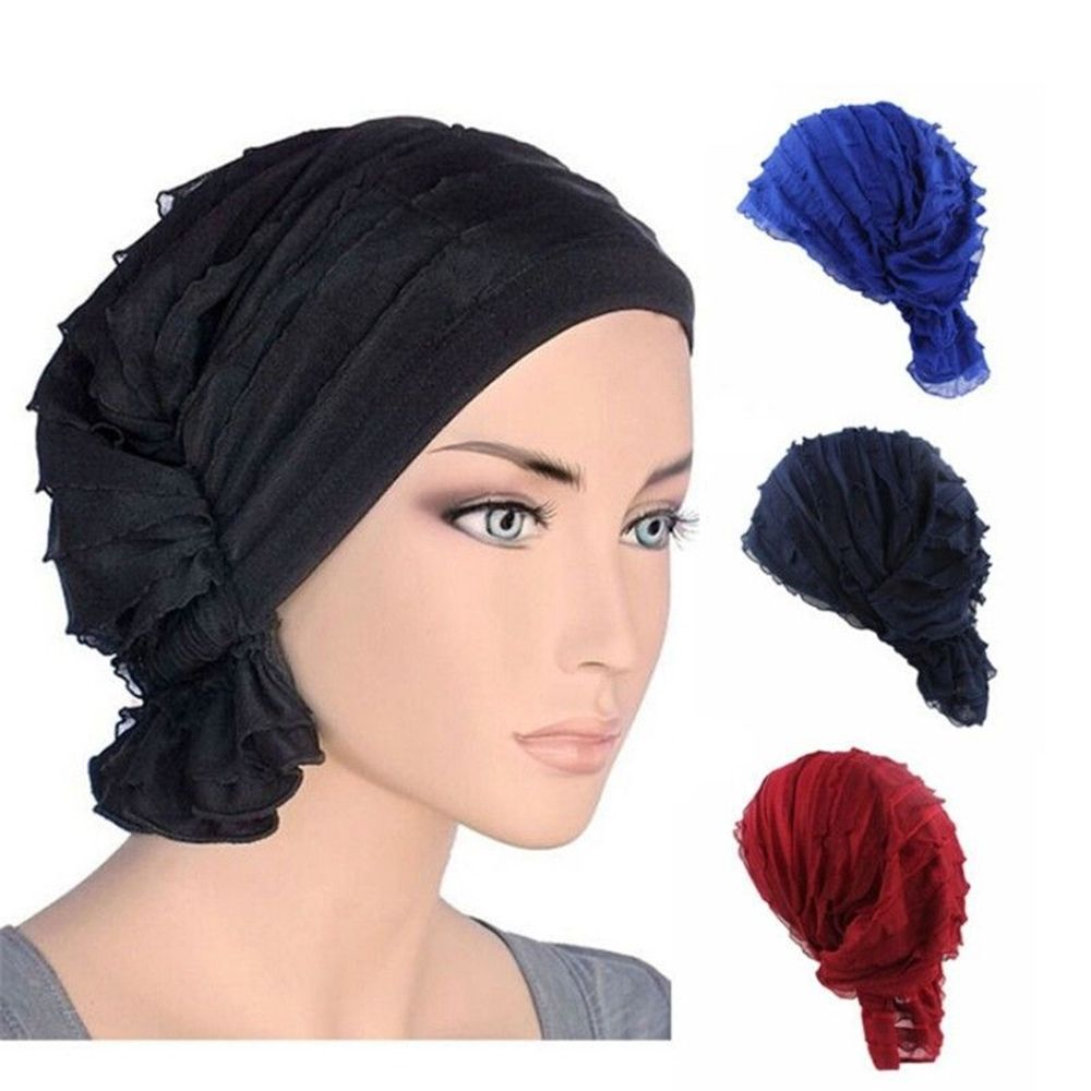 Fashion Women Hats Chiffon Ruffle Cancer Chemo Hat Beanie Scarf Turban Head Wrap Cap Bandana Casual Beanie Cap Headwear(China)