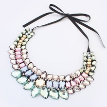 Simulated gemston Necklaces & Pendants Ribbon Rope Chain Statement Necklace Women Collares Trendy Jewelry for Party Wedding gift
