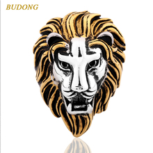 BUDONG Brand Large Size 15 Fashion 2017 Golden Color Animal Lion Head Finger Ring for Men Stainless Steel Punk Jewelry XUBR028