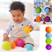 Baby Learning Grip Ball Toy Souding Colorful Multivariant Children Hand Caught Grasping Train Children's Favor Day Gift 4Pcs/Set(China)