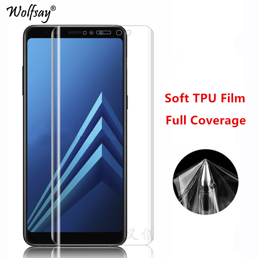 2pcs Soft Edge TPU Film sFor Samsung Galaxy A8 2018 Screen Protector Soft Tempered Glass Samsung Galaxy A8 2018 A530F Film