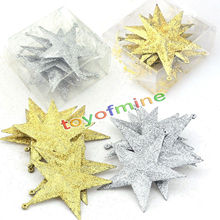 6pcs/Pack Christmas Ornament Mini Gift Box glitter Stars Pinecone Baubles Christmas Tree Pendant Xmas Ornaments Decorations