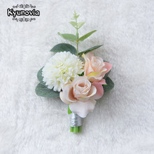 Kyunovia Wedding Prom Boutonniere Flower Brooch Hand Corsage Witness Boutonniere Groom Bridesmaid Groomsmen Wrist Flowers FE40(China)