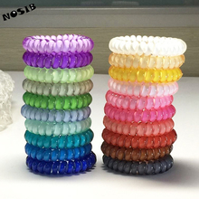 (6pcs) NOSIB Middle Size Hair Scrunchie Popular Korean Candy Color Telephone Wire Style Elastic Band Rope or Bracelet for Women
