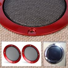 "DWCX New 2Pcs DIY ABS Red 3"" Speaker Decor Protection Circle Cover w/Black Metal Protective Grille Mesh for Universal Vehicles(China)"