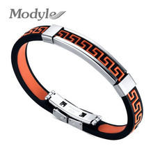 Korean Great Wall Patterns Stainless Steel Silicone Motion Red Black Bracelets Bangles Wholesales Fashion Jewelry for Men