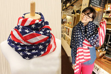 [Visual Axles] Women American Flag Scarf Soft Chiffon Print Stripe And Stars USA Flag Scarves