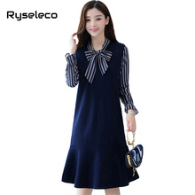 Ryseleco Girls Fall Winter Loose Casual Ruffles Knee Length Mermaid Flare Dresses Women Strip Patchwork Bow Long Sleeve Vestidos(China)