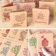 Folding Mini Greeting Card Colored Cartoon Wish For Wedding Birthday Festival Thanks Message Gift Party Supplies