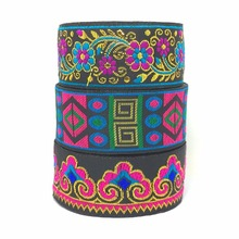 "ZERZEEMOOY 1-1/4"" 33cm 7yard/lot single face Woven Jacquard Ribbon Black background metal silk geometry gorgeous flowers cloud(China)"
