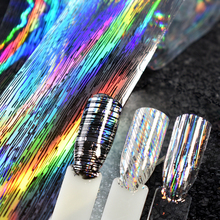 1 roll Holographic Stripe Transfer Foils Colorful Rainbow Nail foil Paper Polish Glue Transfer Adhesive Sticker DIY Nail Decal(China)